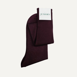 Burgundy Pin Dot Over-the-Calf Sock
