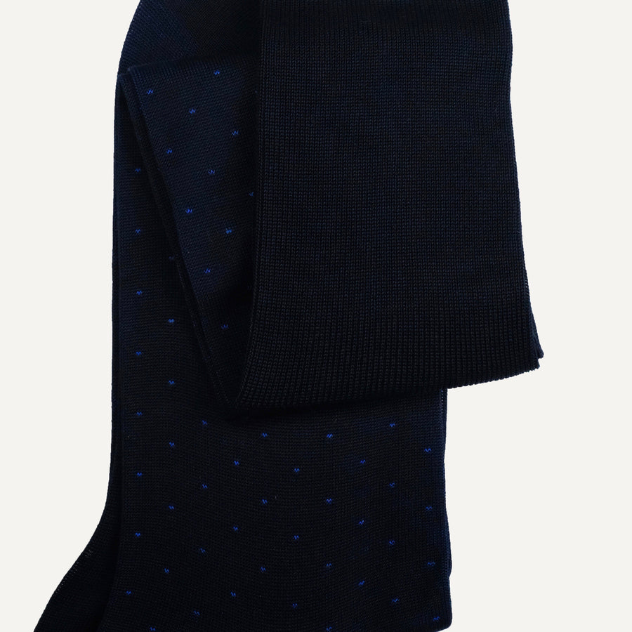 Navy Pin Dot Over-the-Calf Sock