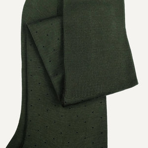 Olive Pin Dot Over-the-Calf Sock