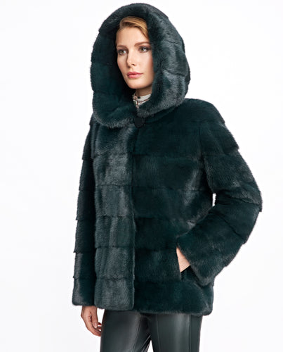 Hooded Horizontal Mink Jacket
