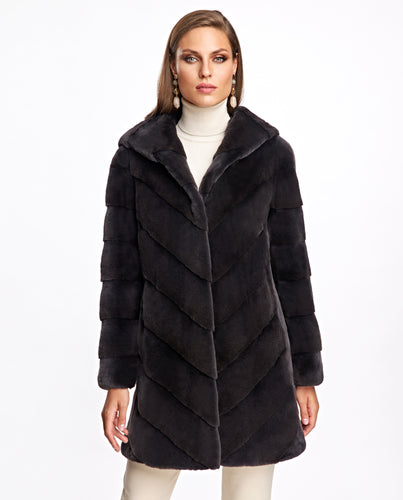 Hooded Plucked Mink Coat