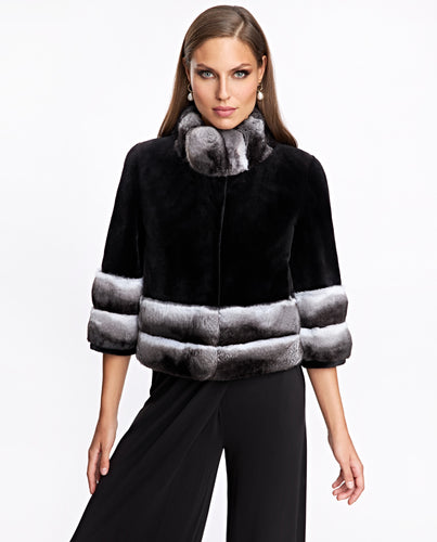 Sheared Mink Jacket With Chinchilla Trim