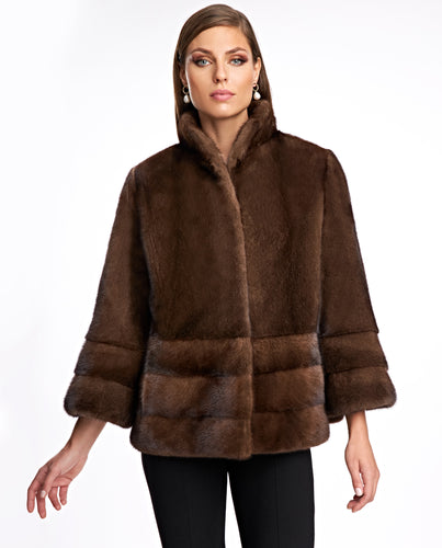 Mink Jacket with Horizontal Hem