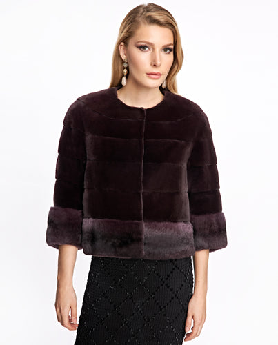 Plucked Mink Jacket with Chinchilla Trim