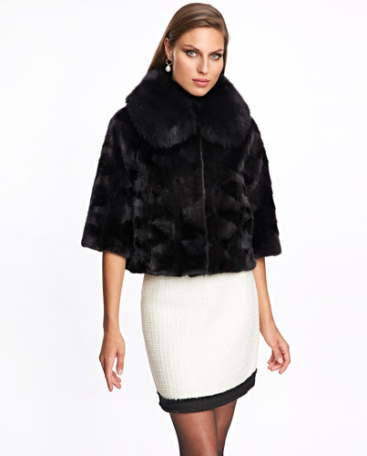 Mink Sections Jacket with Fox Collar