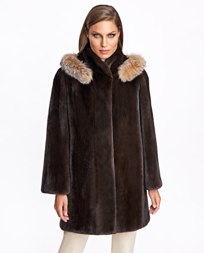 Mink Coat with Fox Trimmed Hood