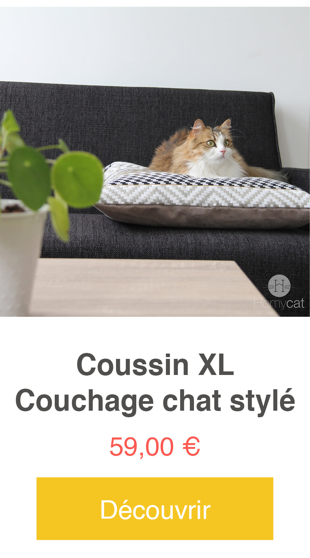 coussin couchage homycat chat