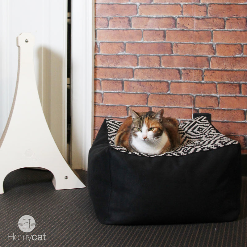 Cube - Couchage pouf chat design