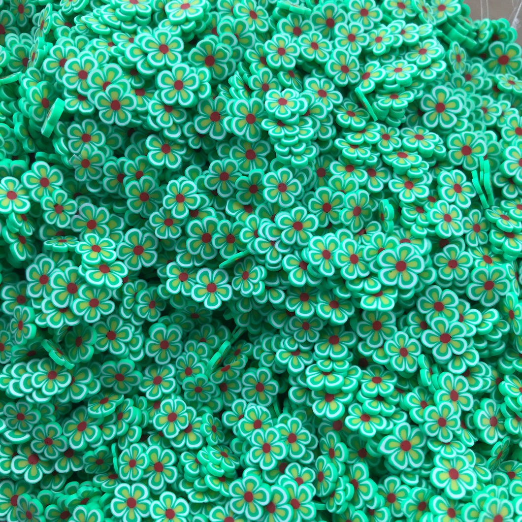 Green Flower Clay Slices
