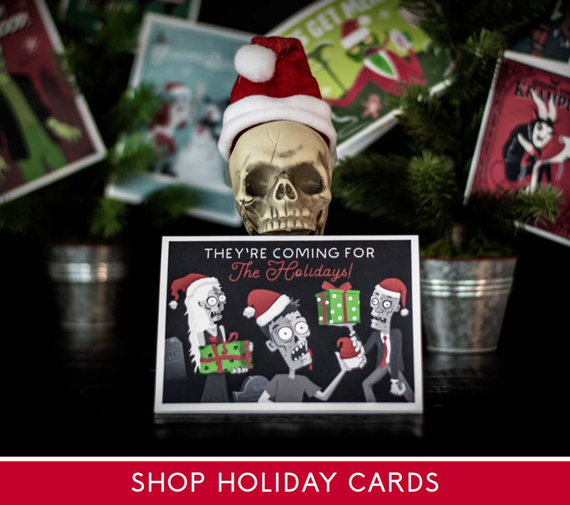 Spooky Cat Santa Skull Gothic Christmas Holiday Krampus Greeting Card