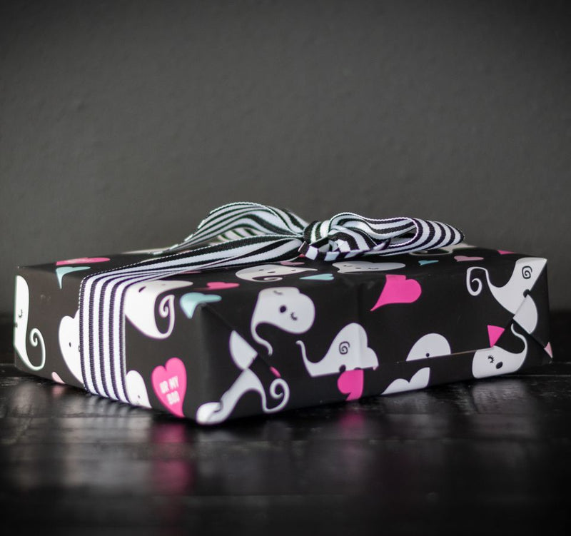 Pink goth ghost boo spooky cute gift wrap