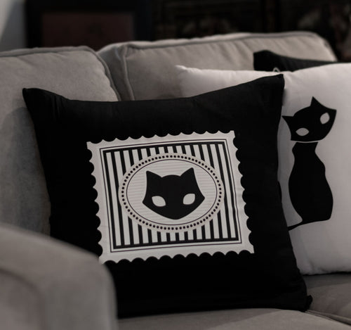 Gothic Decor Black Cat Throw Pillow