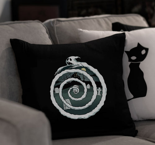 Gothic Decor Ghost Spiral Throw Pillow