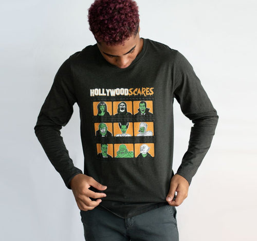 Hollywood Scares Horror Long Sleeve T-Shirt - charcoal gray