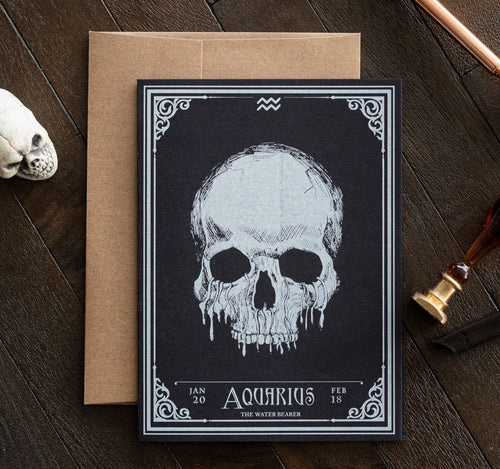 Aquarius Skull Horoscope Zodiac Birthday Card