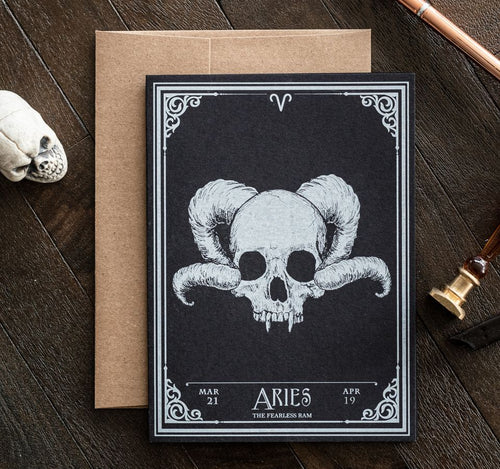 Aries Skull Horoscope Zodiac Birthday Card