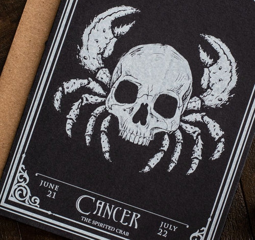 Cancer Skull Horoscope Zodiac Birthday Card