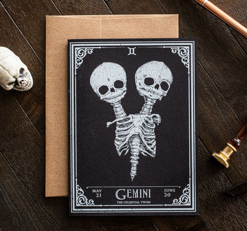 Gemini Skull Horoscope Zodiac Birthday Card