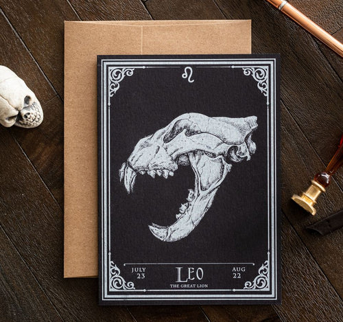 Leo Skull Horoscope Zodiac Birthday Card