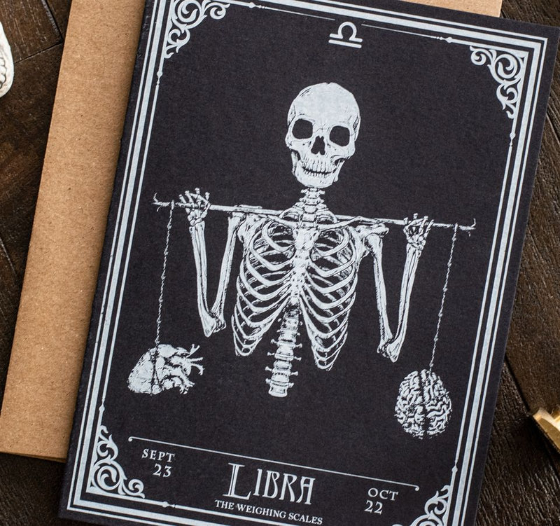 Libra Skull Horoscope Zodiac Birthday Card