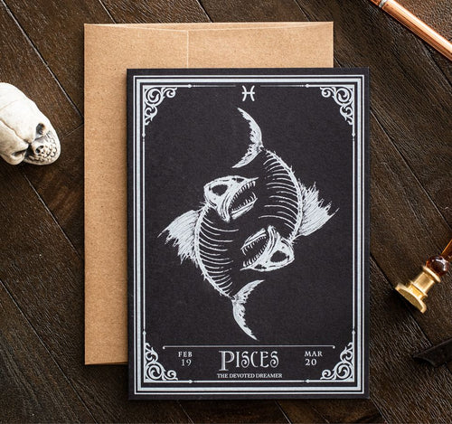 Picses Skull Horoscope Zodiac Birthday Card