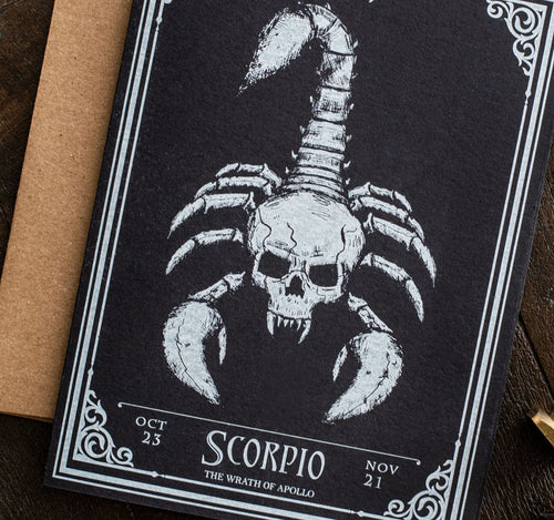 Scorpio Skull Horoscope Zodiac Birthday Card
