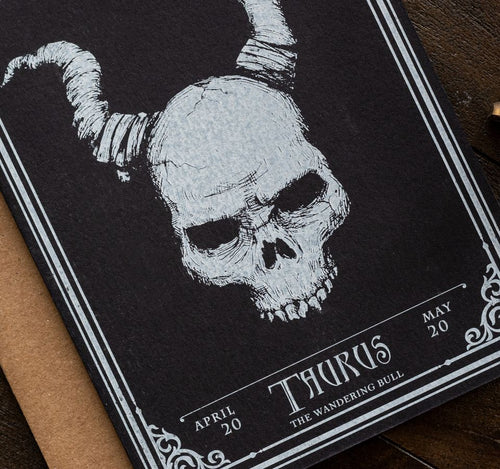 Taurus Skull Horoscope Zodiac Birthday Card