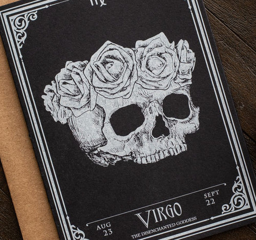 Virgo Skull Horoscope Zodiac Birthday Card