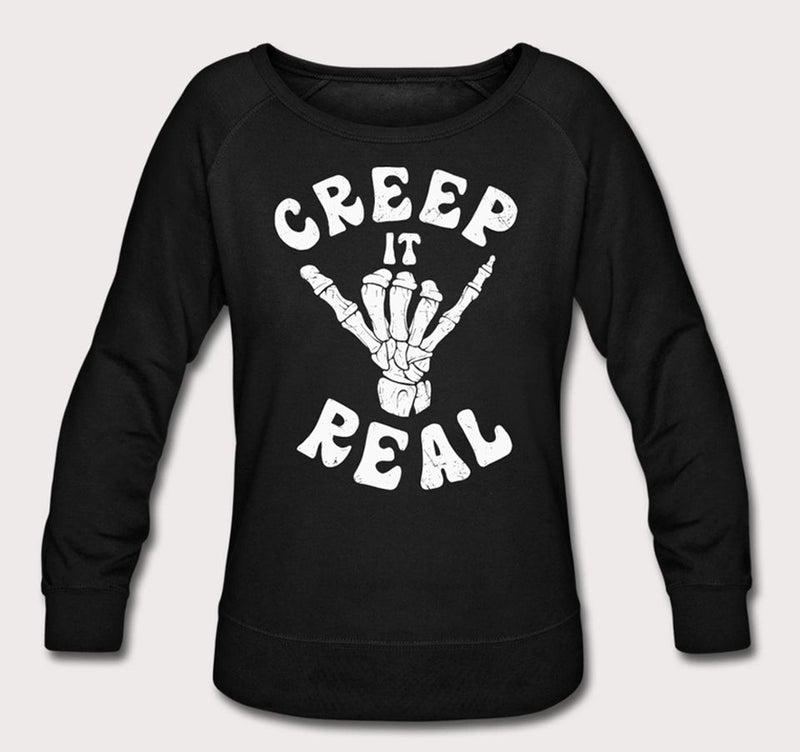 Nu goth creep it real skeleton sweatshirt