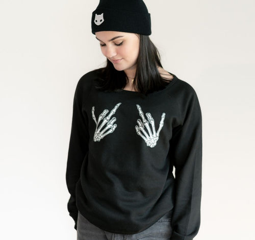 Skeleton middle fingers nu goth hoodie sweatshirt