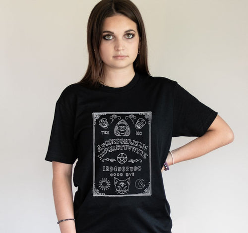 Nu Goth Black Cat Ouija Board T-shirt