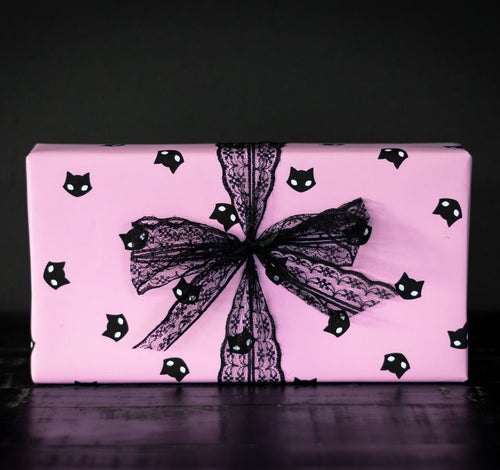 Black Cat Pastel Goth Pink Gift wrap