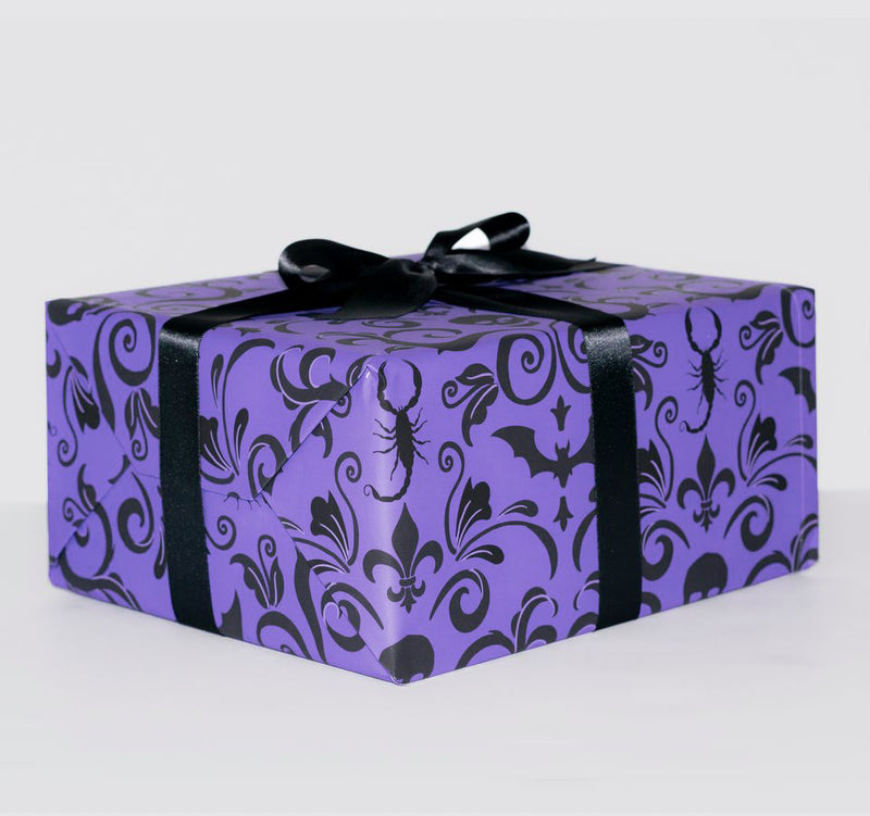 Spooky haunted mansion gift wrap wrapping paper skull damask