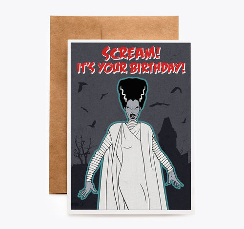 Spooky Cat Bride of Frankenstein Birthday Card