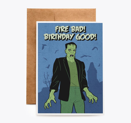 Spooky Cat Frankenstein Birthday Card