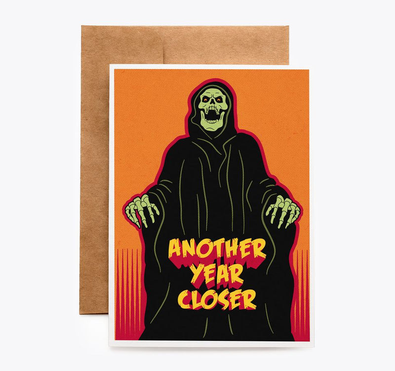 Spooky Cat Death Grim Reaper BirthdayCard
