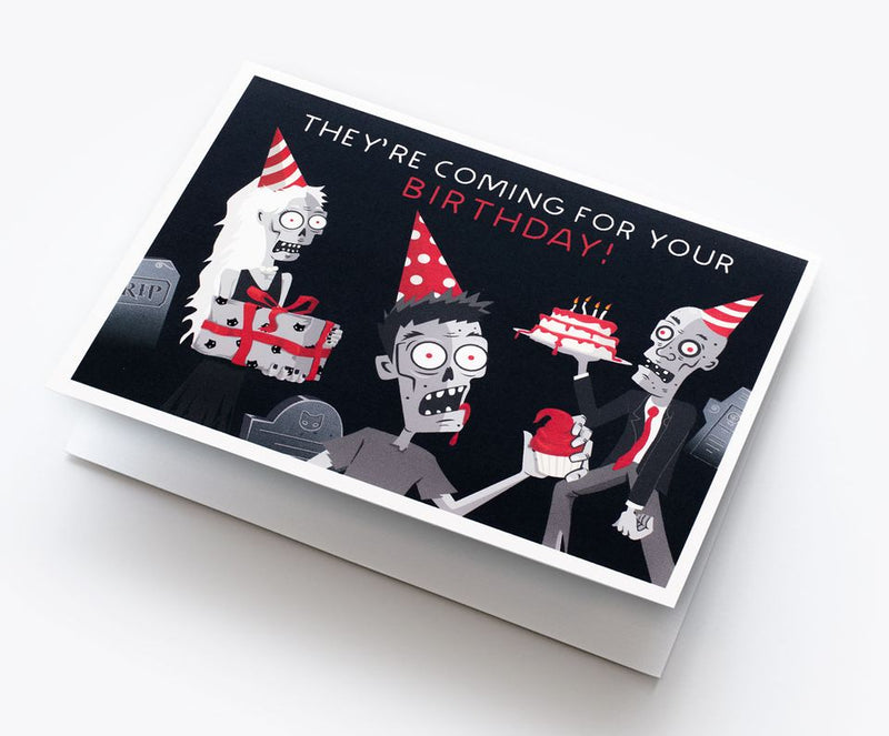 Spooky Cat Zombie Birthday Card - They're Coming For You!