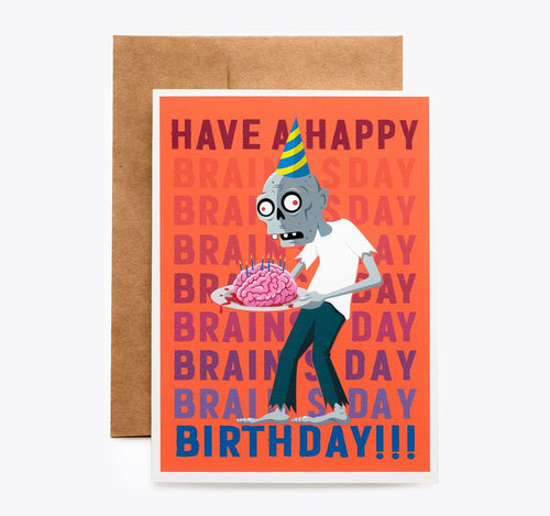 Spooky Cat Zombie Birthday Card - Have a Happy Brainsday!