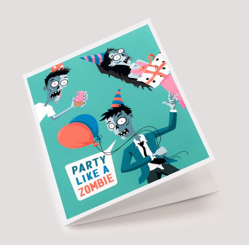 Spooky Cat Zombie Birthday Card - Party Like a Zombie