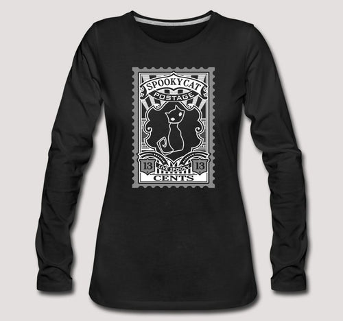Spooky Cat Black Cat Postage Long Sleeve T shirt