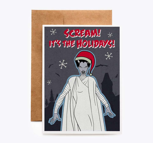 Bride of Frankenstein Christmas Holiday Card