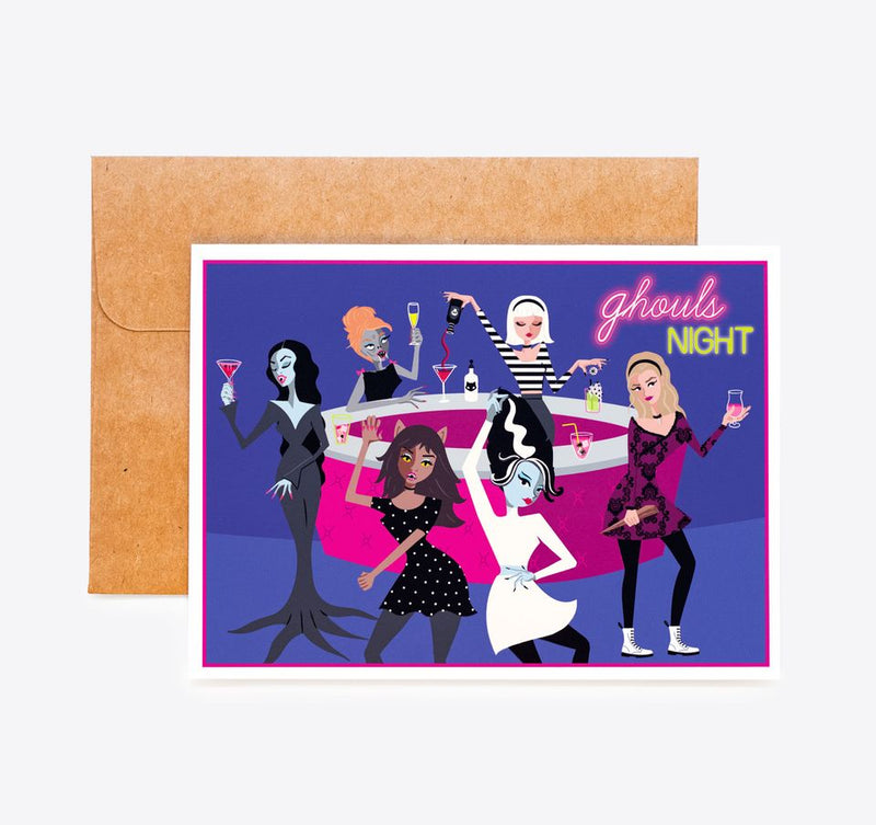 g̶i̶r̶l̶s̶ Ghouls night out card, Vampira, Bride of Frankenstein, Sabrina the witch, Buffy the slayer