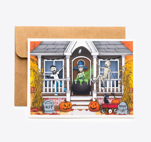 Spooky Cat Halloween Card - Witches Brew