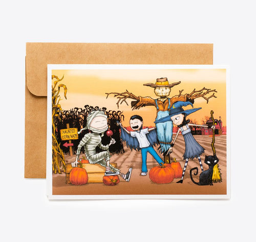 Spooky Cat Halloween Card - Pumpkin Patch