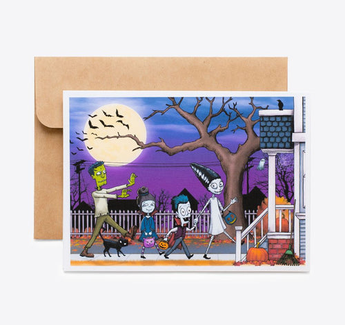 Spooky Cat Halloween Card - Ghoulish Family