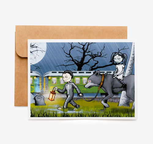 Spooky Cat Halloween Card - Haunted Train