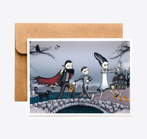 Spooky Cat Halloween Card - Haunted Bridge