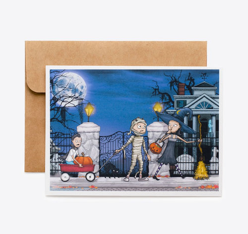 Spooky Cat Halloween Card - Haunted House