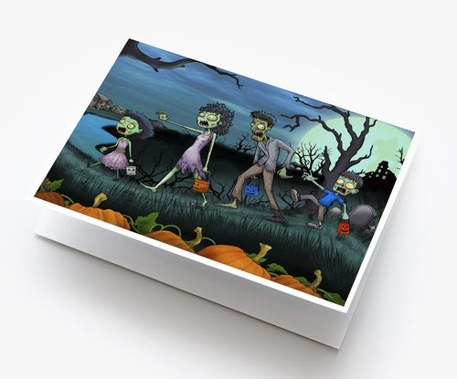 Spooky zombie family halloween card