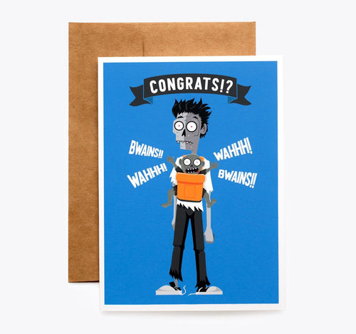 Spooky Cat Zombie New Baby Card - Congrats